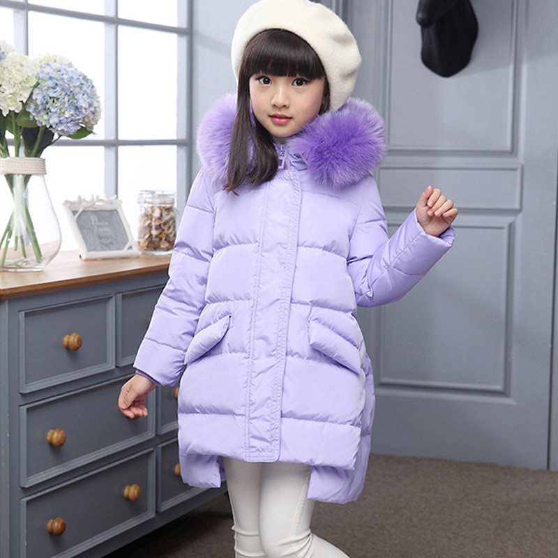 Girl DownJacket In The Iong Section Of the Big Collar 2017 Children's New Winter Baby Warm Thick White Duck Cown Jacket 4-11T sky blue cloud removable hat in the long section of cotton clothing 2017 winter new woman