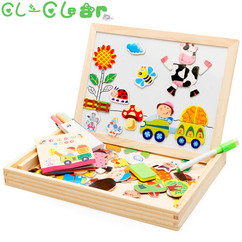 Multifunctional Educational Farm Jungle Animal Wooden Magnetic Puzzle Toys for Children Kids Jigsaw Baby's Drawing Easel Board mylb educational farm jungle animal wooden magnetic puzzle toys for children kids jigsaw baby s drawing easel board