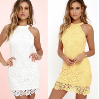 BEFORW Casual White Pencil Dress Fashion Office Hollow Women Dress Elegant Halter Sleeveless Lace Party Dresses