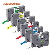 Absonic 6 шт. 12 мм TZe131 TZe231 TZe431 TZe531 TZe631 TZe731 Lableing ленты для Brother P-Touch PT-D210 PT-H110 PT-D600 принтеры
