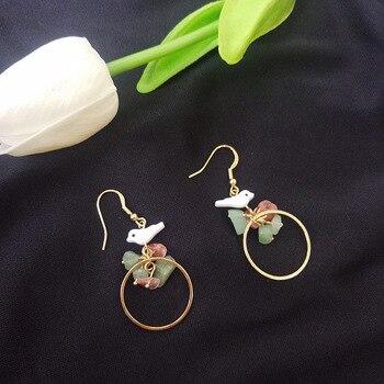 Retro sweet elegant natural birds shell earrings