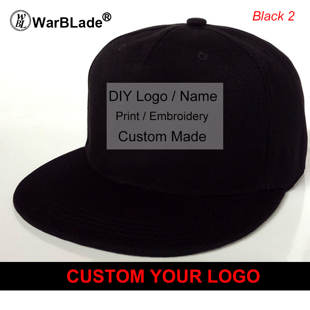 Custom Baseball Cap Print Logo Text Photo Embroidery Gorra Casual Solid Hats Pure Color Black Snapback