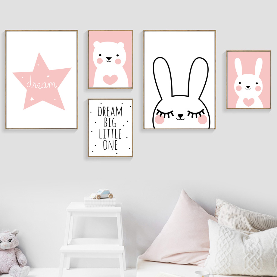 Rabbit Bear Star Dream Big Quotes Wall Art Canvas Painting Nordic Posters And Prints Cartoon Wall Pictures Baby Kids Room Decor