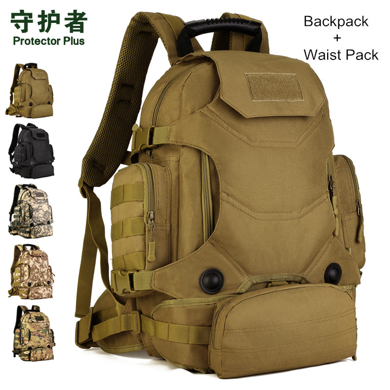 Hot Unisex 40L Multi-Function Camouflage Backpack Tactical Military Nylon Waist Pack Waterproof Outdoor Travelling Hiking Bags 65l tactical metal bracket bag 2018 men camouflage backpack multi function waterproof nylon bags