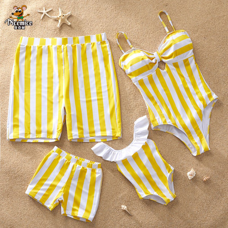Family Swimsuits Yellow Stripe Swimwear Mom And Daughter Mommy And Me Swimsuit Men Boys Beach Shorts Family Matching One Piece
