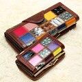 Hot 2016 New Arrival moda longo genuína mulheres de couro carteiras Casual bolsas de senhora curto do Vintage Multi Slot carteira titular do cartão