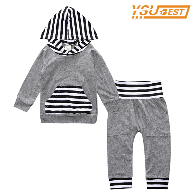 2pcs Suit Baby Girl Clothing Sets 0-3yrs Newborn Baby Boys Gary Long Sleeve Hoodie Sweatshirt + Pants Outfits Set Baby Clothes