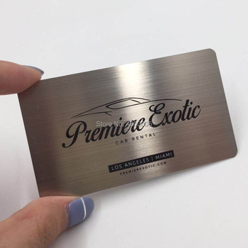 (100pcs/lot)Cheap customized CR80 loyalty brushed Stainless Steel Metal Business Card e loyalty