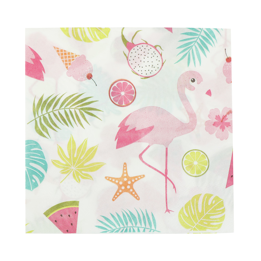 20pcs Creative Table Paper Napkins Supplies Disposable Flamingo Pineapple Monstera Leaves Portable Flamingo Paper Napkins