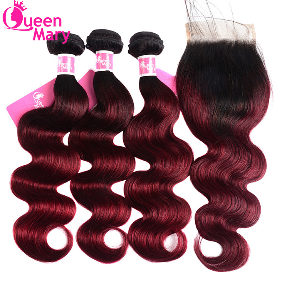 Closure Human-Hair-Bundles Ombre Mary Hair-Weave Body-Wave Brazilian with 1b/Burgundy