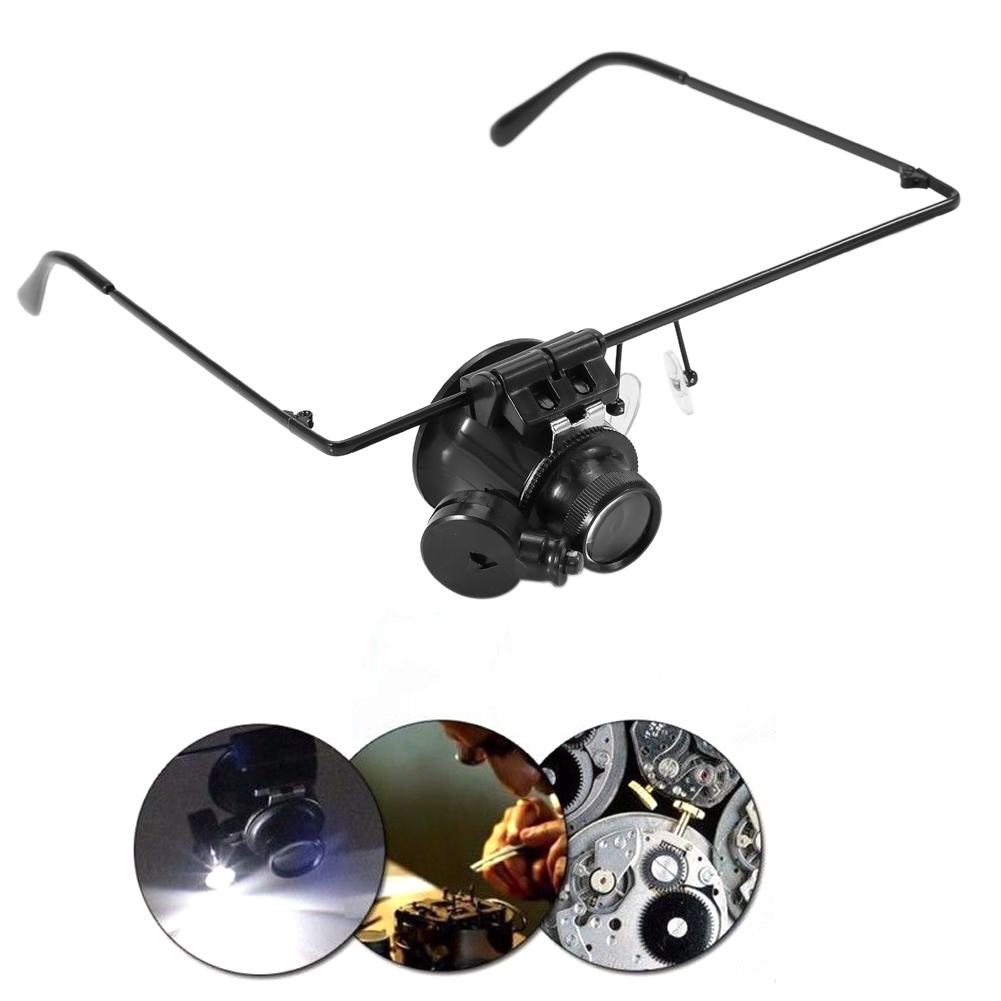 20X Magnification Single Eyeglass Magnifying Headband Jeweler Watch Repair  LED Light Eye Glass Lens Magnifier Tattoo accesories-in Tattoo accesories