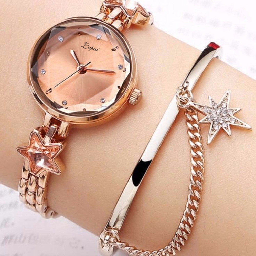 Lvpai Luxury Fashion Temperament Raised Dial Quartz Star Rhinestone Stainless Steel Bracelet Women Watch Reloj De Mujer Clock