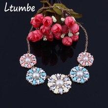 a5272745023a Ltumbe nuevo Maxi cuentas bohemias collares de perlas simuladas para mujeres  joyería de fiesta gran flor de cristal declaración .