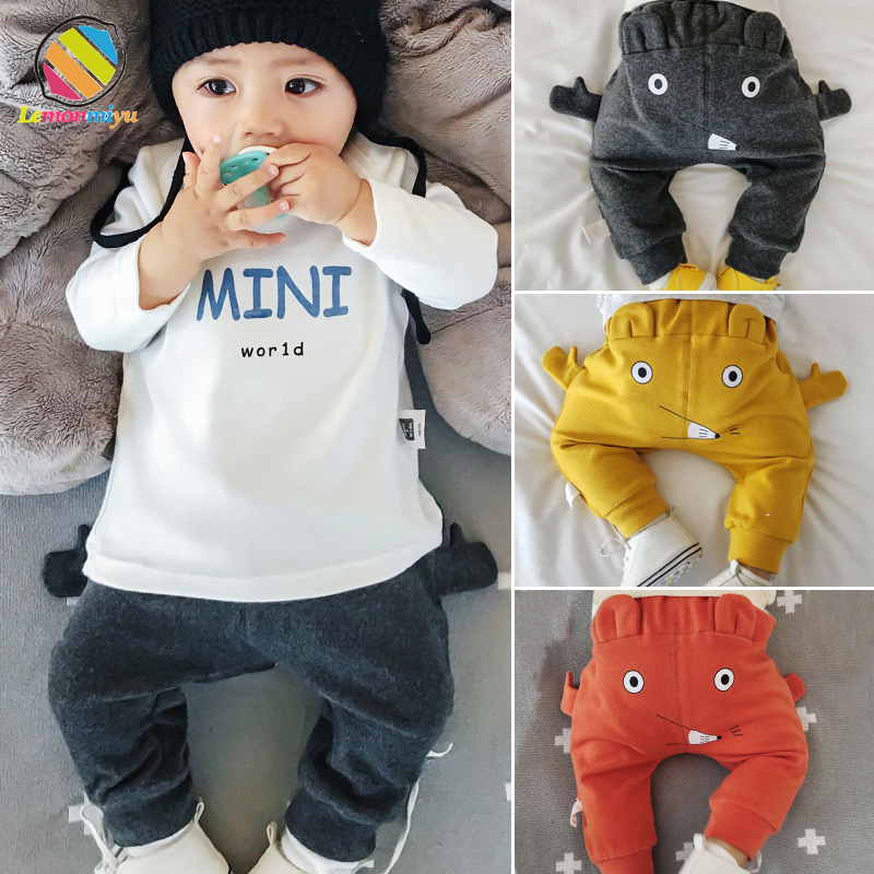 Lemonmiyu Pants Newborn Trousers Harem Autumn Toddler Baby Cotton Casual Cartoon Spring