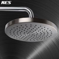 KES J201 2 Extra Large 8 Inch Drenching Rain Fall Shower Head Fixed Mount with Swivel 1/2 Metal Ball Connector, Brushed Nickel