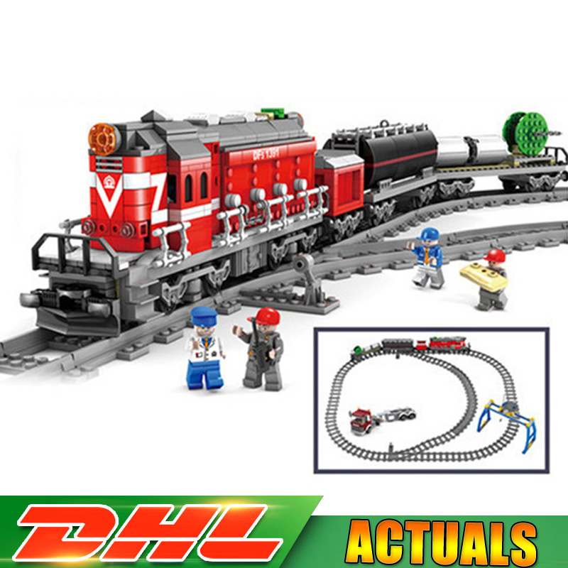 KAZI 98219 DF5 GBL City Power Driven Diesel Train Track Rail Trailer Truck Electric Building Blocks Bricks Model Children Toys