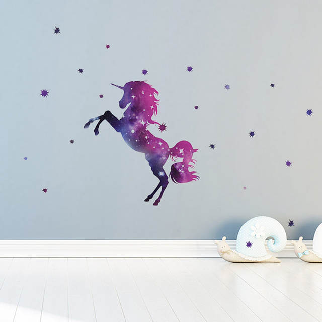 AliExpress & Cartoon Galaxy Unicorns Star Wall Stickers DIY Home Wall Decals Kids Living Room Bedroom Wallpaper Girls Room Decor