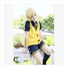 Japanese Anime Vocaloid Kagamine Rin Len Hallowmas Party Dress Uniform Cosplay Costume S-M Or Custom-made Any Size(China)