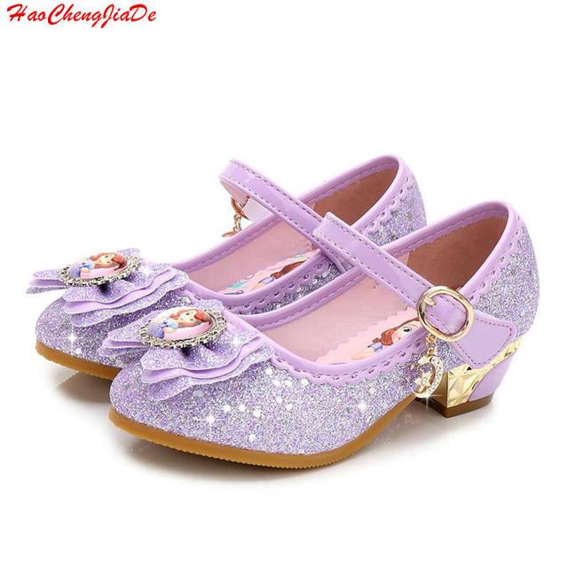 06851a904 Crianças Sandálias de Couro Criança Sapatos de Salto Alto Meninas Princesa  Sofia Verão Sandals Partido Sapatos