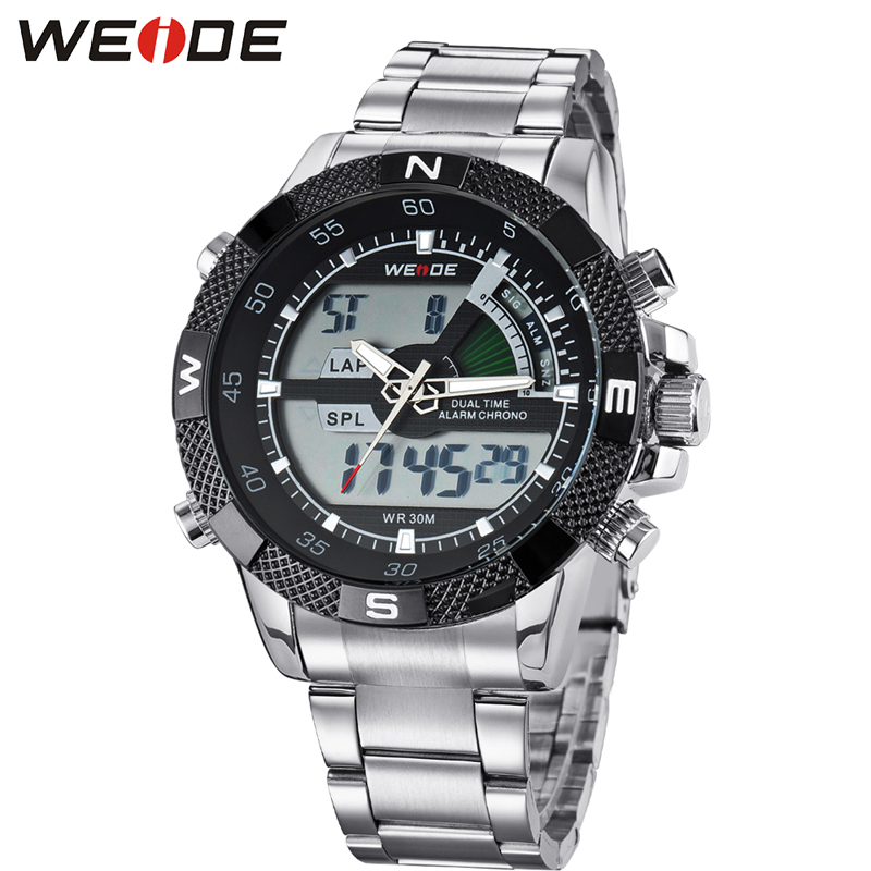 WEIDE Famous Brand Men Sports Watches Men's LED Clock Wrist Watch Military Watch Analog Digital Dual Display Relogio Masculino weide popular brand new fashion digital led watch men waterproof sport watches man white dial stainless steel relogio masculino