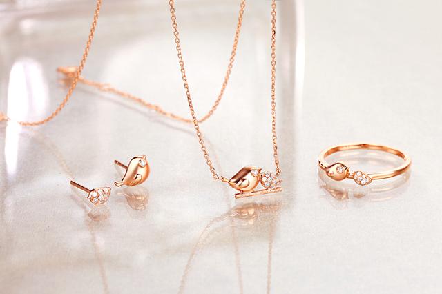 18K Rose Gold Real (Au750) 0.03 CT Diamond Ring