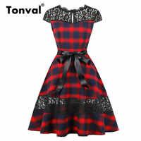 f66be590e60e Tonval Кружева Контрастность в клеточку Винтаж платье в клетку с коротким  рукавом и низким вырезом на