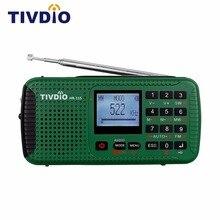 TIVDIO HR-11S FM/MW/SW Radio Hand Crank Solar Emergency Radio Bluetooth MP3 Player Digital Recorder Portable F9208G