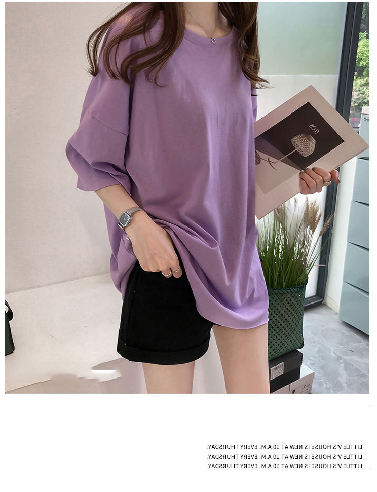 Candy Color Short Sleeve Loose T-Shirts Girls Summer 19 New Cool O-Neck Boyfriend Student Women T-Shirt Lady Tops Plus Size 11