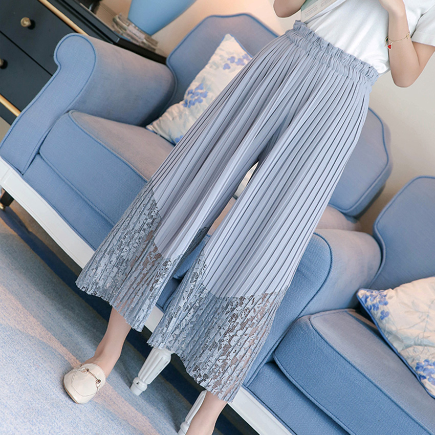 New Spring Summer Chiffon Spliced Lace Wide Leg Pants Women OL Pleated Chiffon Trousers Elegant High Waist Female Leggings Mw197 5