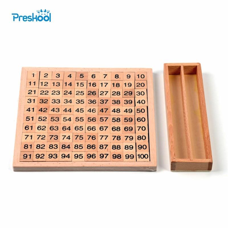 Montessori Mathematic 100 Hundred Board 20 Cm* 20 Cm  Early Childhood Education Preschool Training Kids Toys Brinquedos Juguetes