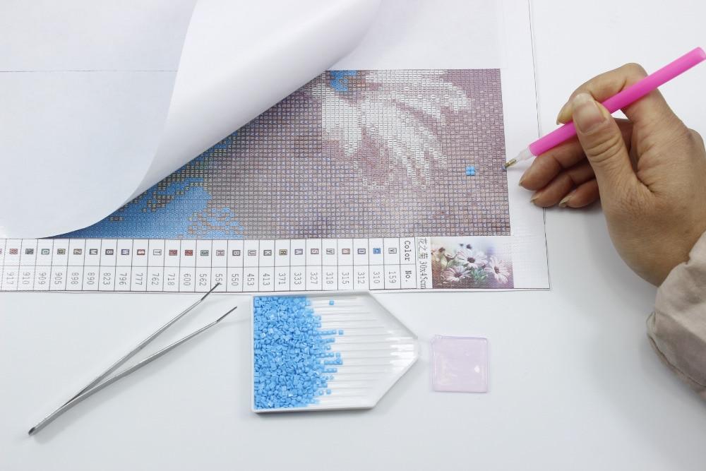 Diy 5D Diamond Rəsm Xaç Dikişi Qırmızı Diamond Mozaika Tam 3D - İncəsənət, sənətkarlıq və tikiş - Fotoqrafiya 4
