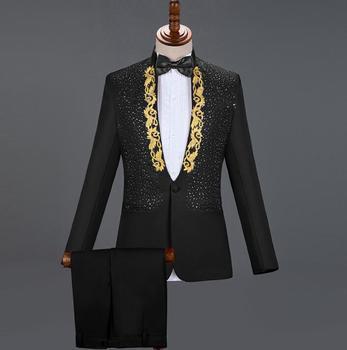Black clothes men suits designs masculino homme stage singers jacket men sequins blazer dance star style dress stand collar
