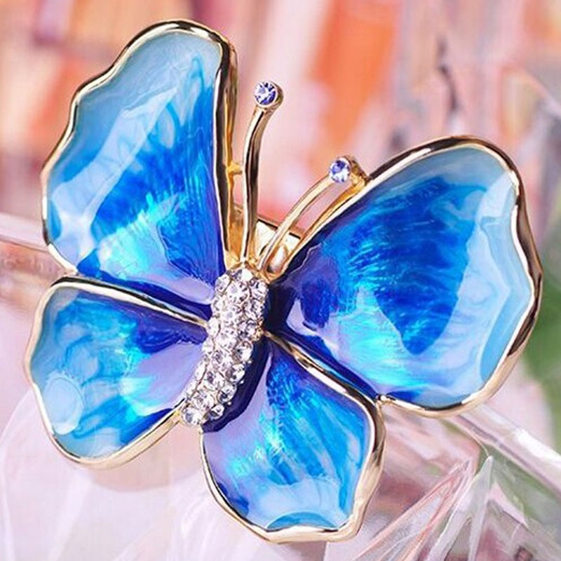 12pcs/lot Wholesale Blue Enamel Butterfly Brooch Pin Women Gold Brooches Bouquet Best Women Party gifts Hats Jewelry Broches