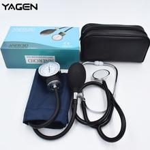 Yeni Aneroid Sphygmomano ölçer manşet kan basıncı monitörü stetoskop naylon manşet Dial doktor hemşire için