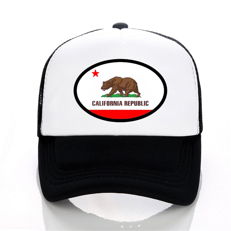 Plain Baseball Cap Casual CALI Bear Hat Trucker Mesh Hats Fashion Snapback Caps
