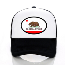 Fashion trucker Hat California Flag Baseball Caps summer Mesh Cap Retro Love Vintage Republic Bear hats