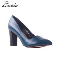 Bacia Classics Genuine Leather Sheepskin Thick High Heels Pointed Toe Women Pumps Quality Elegent Female Shoes Size 35 41 MB034