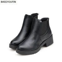 2017 New European Hot Head Low Barrel Boots With Thick Martin Boots With Fashion Exquisite Single