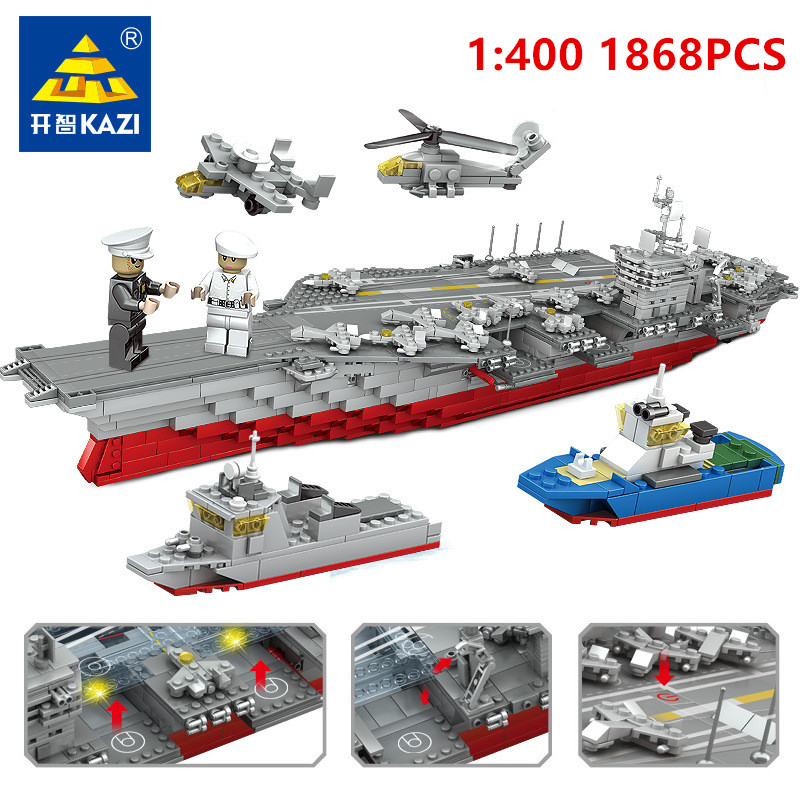 цены KAZI 1868Pcs Military Bismarck Battleship Building Blocks Sets Ship Construction Bricks Hobbies Educational Toys for Children