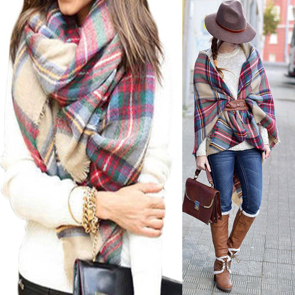 Newest Arrival Wool Blend Blanket Oversized font b Tartan b font Winter Scarf Women Wrap Shawls