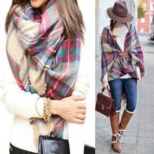 Newest Arrival Wool Blend Blanket Oversized Tartan Winter Scarf Women Wrap Shawls and Scarves Plaid Pashmina