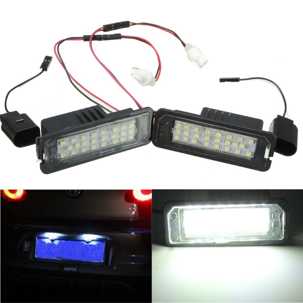 CYAN SOIL BAY Pair 24 LED Error Free License Plate Light Canbus For VW Passat Golf GTI MK5 MK6 no error car led license plate light number plate lamp bulb for vw touran passat b6 b5 5 t5 jetta caddy golf plus skoda superb