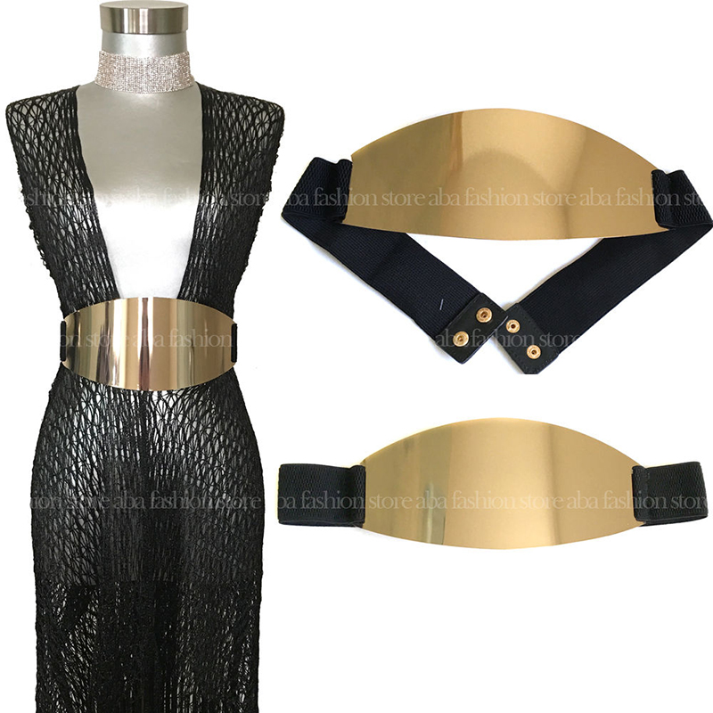 Stylish Brand BLING SHINY WOMEN WAIST WIDE OVAL GOLD METAL PLATE MIRROR ELASTIC   BELT   OBI Silver & Gold bg-044