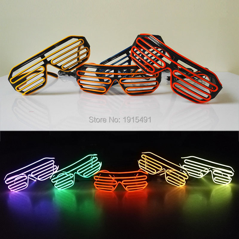2017 10 Colors EL Glasses Led Bulbs Trendy Neon Led Light Up Shutter Shaped Glow Sunglasses Rave Costume Party Bright Eyewear topeak outdoor sports cycling photochromic sun glasses bicycle sunglasses mtb nxt lenses glasses eyewear goggles 3 colors