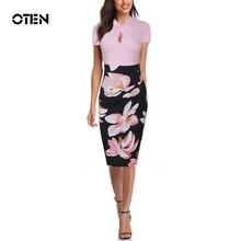 OTEN Fashion Women Work Office Floral Print Summer Split Pencil Knot Short Sleeves Slim Vintage Bodycon Lady Sexy Midi Dresses