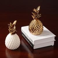Modern white gold ceramic creative pineapple ornaments minimalist home bedroom decorations