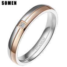 Somen Ring Women 4mm Titanium Rings Simplicity Cubic Zirconia Wedding Band Engagement Romantic Jewelry Bague Femme