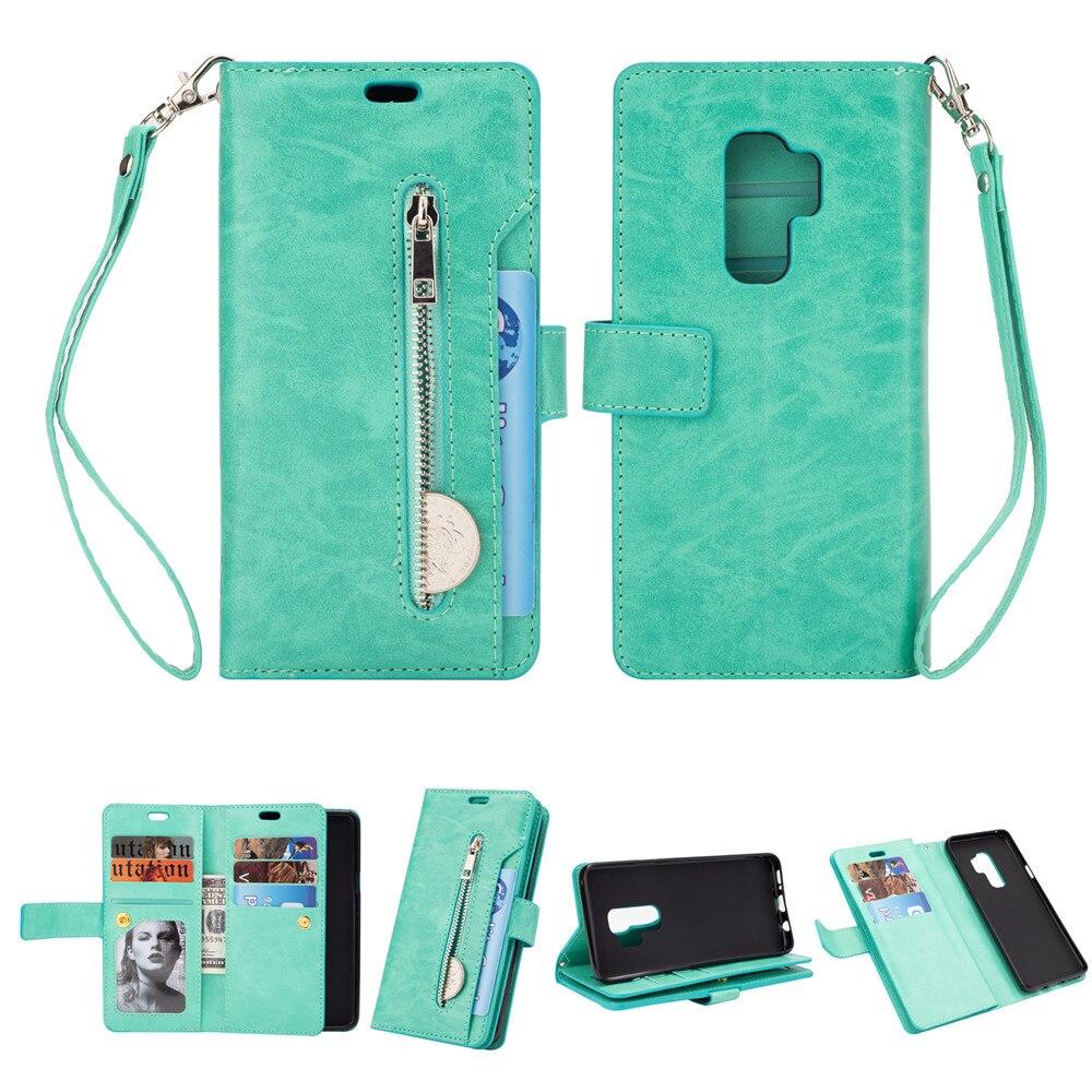 Zipper Wallet 9 Card Pockets Functional Book Case For Samsung Galaxy S6 S7 Edge S8 S9 A6 Plus J4 J6 J8 2018 Note 8 9 A5 A7 2017