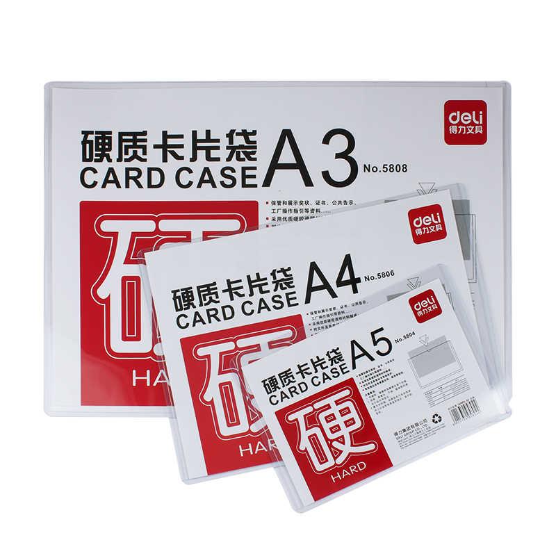 Deli 1 pcs dữ liệu túi bảo vệ tập tin tay kẹp A5/A4/A3 cứng cao su nhựa trong suốt thẻ túi thư Mục trình bày