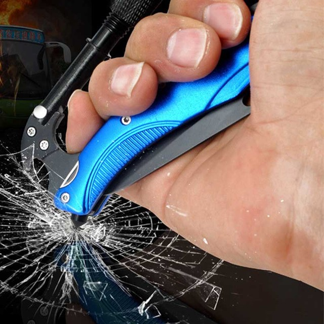 Новые поступления Карманный алюминиевый карабин из нержавеющей стали складной нож с Светодиодный лампа с подвесом брелок спорт на открыто...